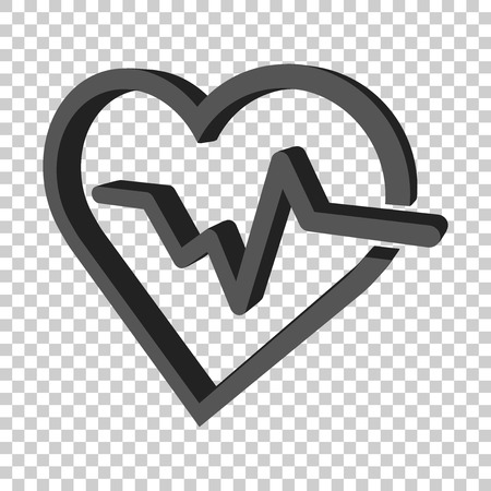 Heartbeat line with heart icon in flat style. Heartbeat illustration on isolated transparent background. Heart rhythm concept. Illustration