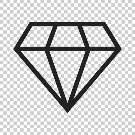 Diamond jewel gem vector icon in flat style. Diamond gemstone illustration on isolated transparent background. Jewelry brilliant concept.