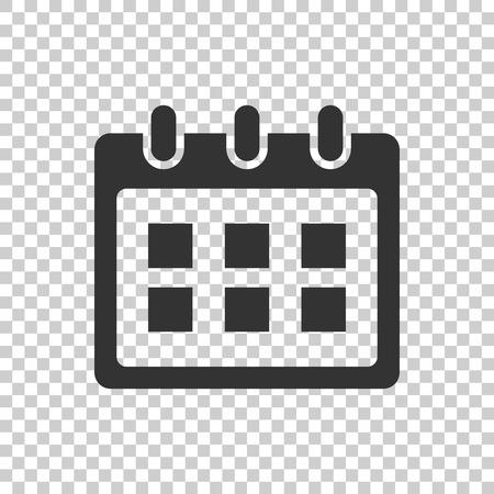 Calendar vector icon. Reminder agenda sign illustration. Business concept simple flat pictogram on isolated transparent background. Illustration