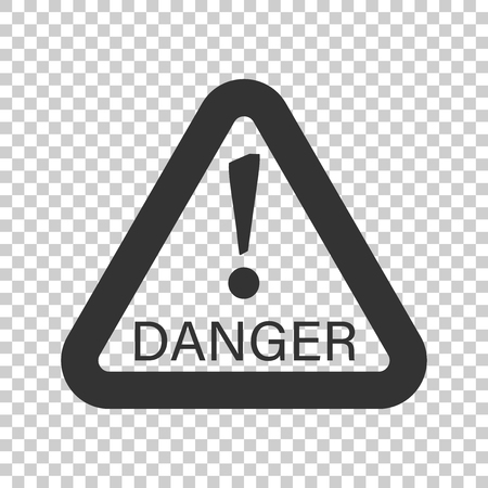 Danger sign vector icon. Attention caution illustration. Business concept simple flat pictogram on isolated transparent background. Stock Illustratie