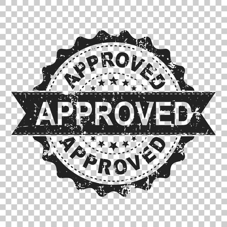 Approved scratch seal stamp vector icon. Approve accepted badge flat vector illustration. Business concept pictogram on isolated transparent background.