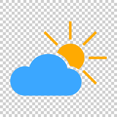 Weather forecast icon in flat style. Sun with clouds illustration on isolated transparent background. Forecast sign concept. Иллюстрация