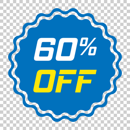 Discount sticker vector icon in flat style. Sale tag sign illustration on isolated transparent background. Promotion 60 percent discount concept.