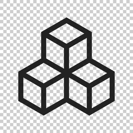 Blockchain technology vector icon in flat style. Cryptography cube block illustration on isolated transparent background. Blockchain algorithm concept.