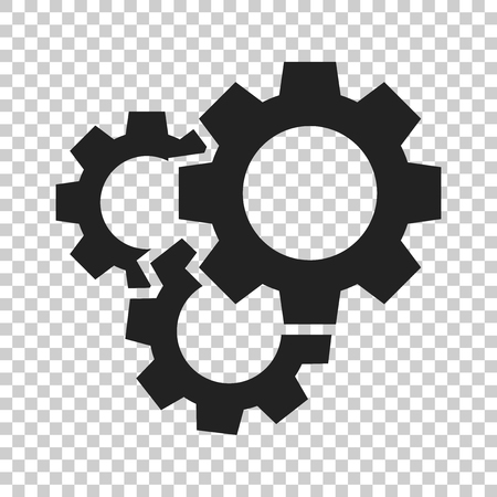 Gear vector icon in flat style. Cog wheel illustration on isolated transparent background. Gearwheel cogwheel business concept. Banco de Imagens - 101235581