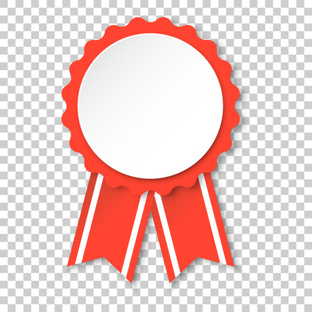 Award ribbon icon. Medal badge illustration on isolated transparent background. Ribbon business concept.