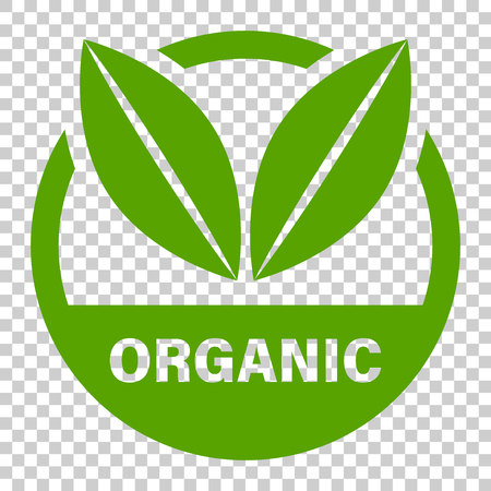 Organic label badge vector icon in flat style. Eco bio product stamp illustration on isolated transparent background. Eco natural food concept.
