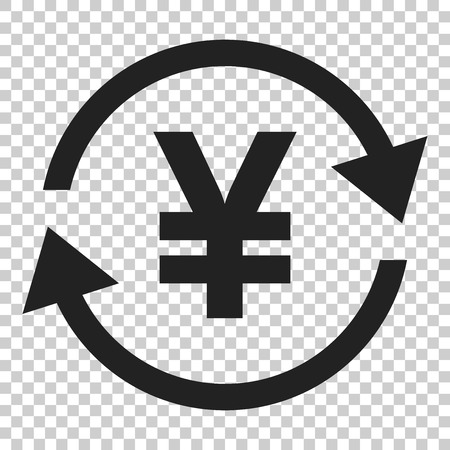 Yen, yuan money currency vector icon in flat style. Yen coin symbol illustration on isolated transparent background. Asia money business concept.