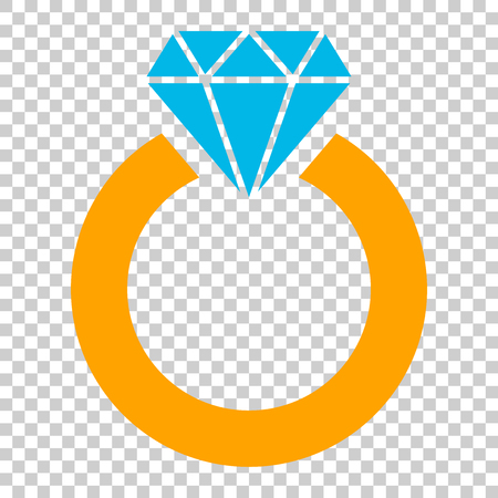 Ring with diamond vector icon in flat style. Gold jewelry ring illustration on isolated transparent background. Engagement business concept.