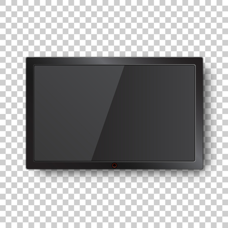 Realistic tv screen vector icon in flat style. Monitor plasma illustration on isolated transparent background. Tv display business concept.