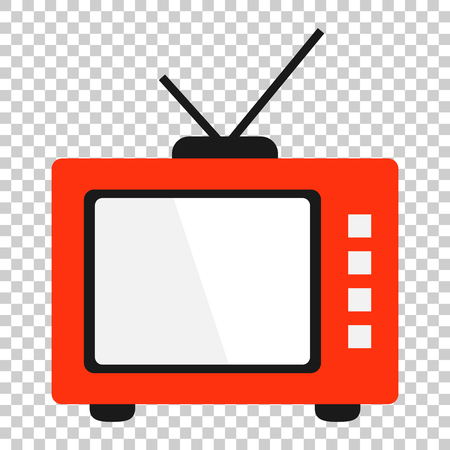 Retro tv screen vector icon in flat style. Old television illustration on isolated transparent background. Tv display business concept.