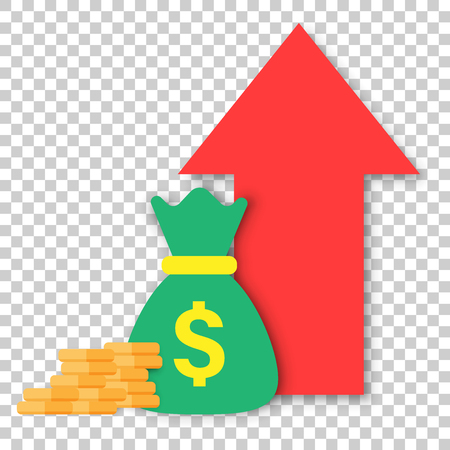 Money trending icon in flat style. Coins with money bag and growth arrow illustration on isolated transparent background. Financial strategy business concept.