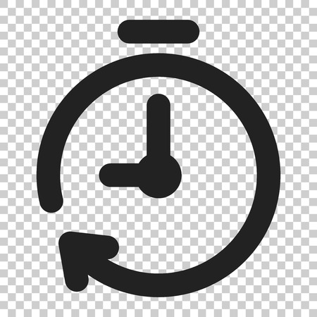 Clock timer icon in flat style. Time alarm illustration on isolated transparent background. Stopwatch clock business concept. Ilustracje wektorowe