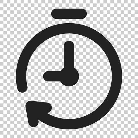 Zeitschaltuhr-Symbol im flachen Stil. Zeitalarmillustration auf lokalisiertem transparentem Hintergrund. Geschäftskonzept der Stoppuhruhr. Vektorgrafik