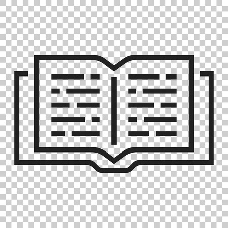Open book icon in flat style. Text book illustration on isolated transparent background. Education library business concept. Foto de archivo - 101235777
