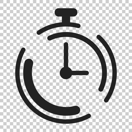 Clock timer icon in flat style. Time alarm illustration on isolated transparent background. Stopwatch clock business concept.