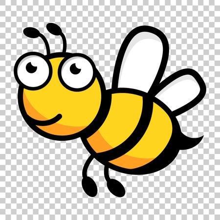 Karikaturbienenlogoikone im flachen Stil. Wespeninsektillustration auf lokalisiertem transparentem Hintergrund. Bienengeschäftskonzept.