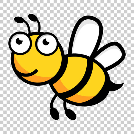 Cartoon bee logo icon in flat style. Wasp insect illustration on isolated transparent background. Bee business concept.
