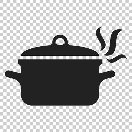 Cooking pan icon in flat style. Kitchen pot illustration on isolated transparent background. Saucepan equipment business concept.