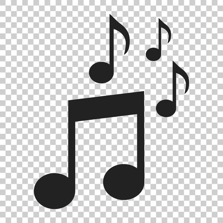 Music note icon in flat style. Sound media illustration on isolated transparent background. Audio note business concept.