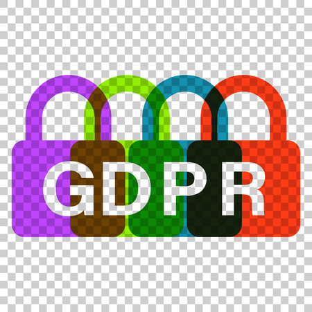 General data protection regulation padlock vector icon in flat style. GDPR illustration on isolated transparent background. GDPR concept.