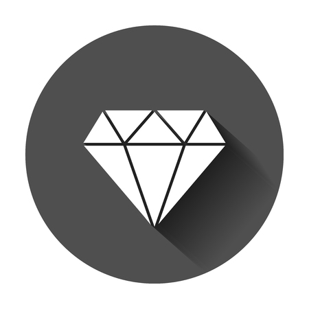 Diamond jewel gem vector icon in flat style. Diamond gemstone illustration with long shadow. Jewelry brilliant concept. Иллюстрация