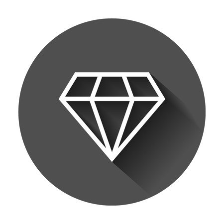 Diamond jewel gem vector icon in flat style. Diamond gemstone illustration with long shadow. Jewelry brilliant concept. Ilustrace