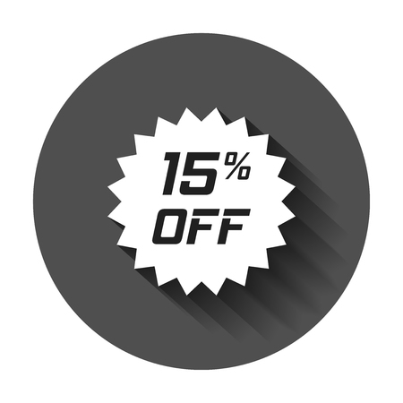 Discount sticker vector icon in flat style. Sale tag sign illustration with long shadow. Promotion 15 percent discount concept.