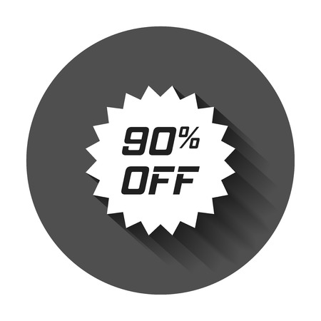 Discount sticker vector icon in flat style. Sale tag sign illustration with long shadow. Promotion 90 percent discount concept. Illustration