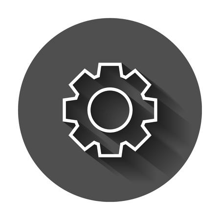 Icono de vector de engranaje en estilo plano. ilustración rueda dentada con la silueta de la rueda dentada . concepto de rueda dentada de la vendimia . Foto de archivo - 102007810