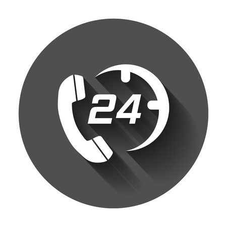 Technical support 247 vector icon in flat style. Phone clock help illustration with long shadow. Computer service support concept.  イラスト・ベクター素材