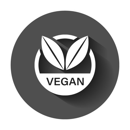 Vegan label badge vector icon in flat style. Vegetarian stamp illustration with long shadow. Eco natural food concept.