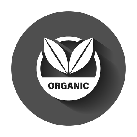 Organic label badge vector icon in flat style. Eco bio product stamp illustration with long shadow. Eco natural food concept. 일러스트