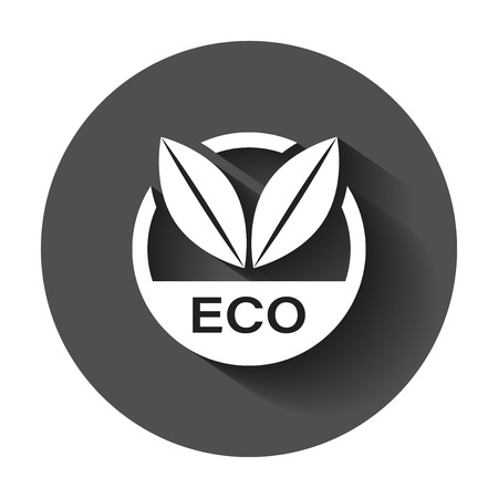 Eco label badge vector icon in flat style. Organic product stamp illustration with long shadow. Eco natural food concept.