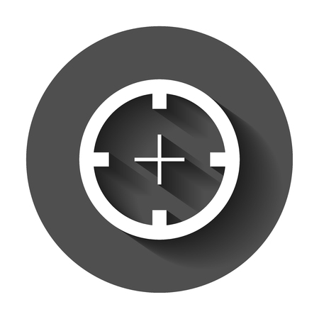 Shooting target vector icon in flat style. Aim sniper symbol illustration with long shadow. Target aim business concept.