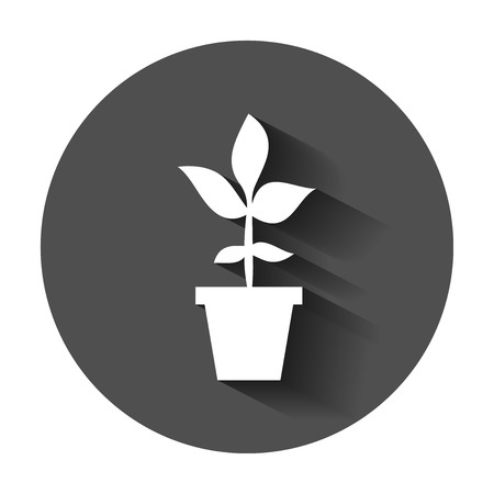 Flower pot vector icon in flat style. Seedling flower illustration with long shadow. Floral leaf business concept. 向量圖像