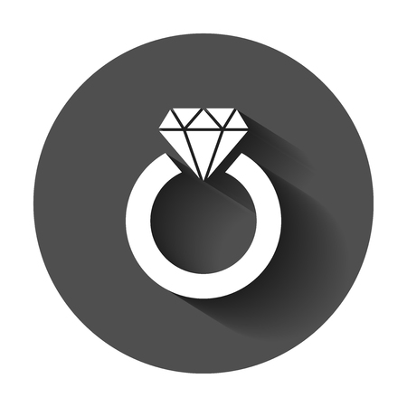 Ring with diamond vector icon in flat style. Gold jewelery ring illustration with long shadow. Engagement business concept.