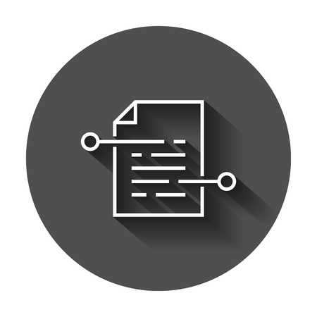 Document paper icon in flat style. Terms sheet illustration with long shadow. Document analytics business concept. Stock Illustratie