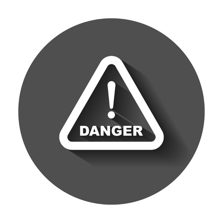 Danger sign vector icon. Attention caution illustration. Business concept simple flat pictogram with long shadow.