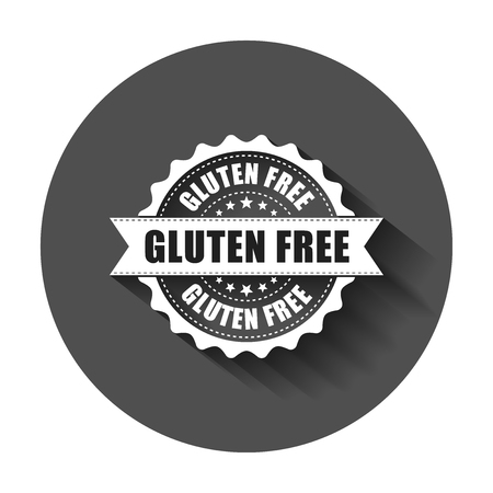 Gluten free grunge rubber stamp. Vector illustration with long shadow. Business concept no gluten healthy stamp pictogram.