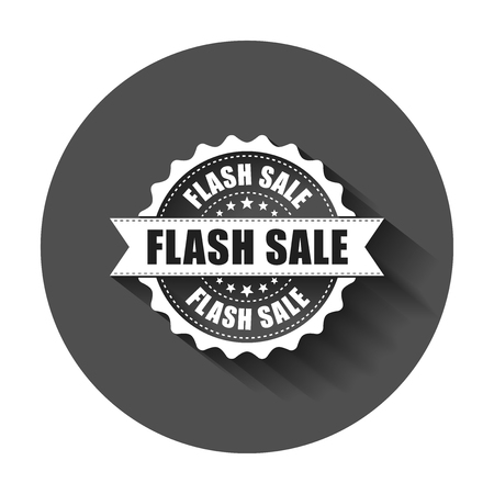 Flash sale grunge rubber stamp. Vector illustration with long shadow. Business concept sale discount stamp pictogram. Çizim