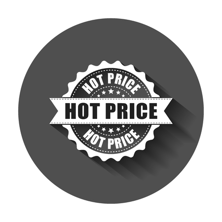 Hot price grunge rubber stamp. Vector illustration with long shadow. Business concept hot price stamp pictogram. Illustration