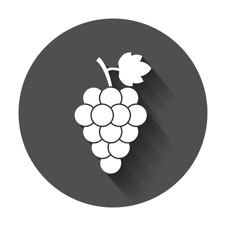 Grape fruit with leaf icon. Vector illustration with long shadow. Business concept Bunch of wine grapevine pictogram.