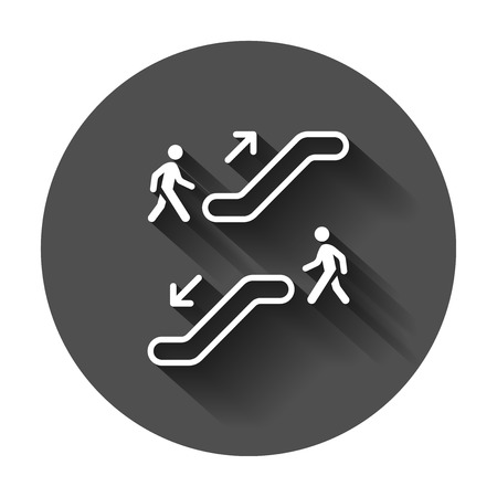Escalator elevator icon. Vector illustration with long shadow. Business concept escalator pictogram.