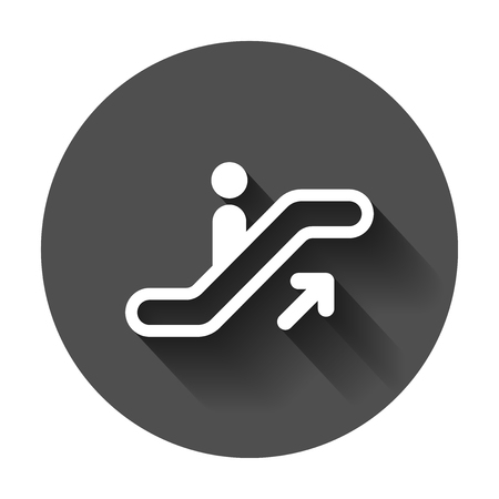Escalator elevator icon. Vector illustration with long shadow. Business concept escalator pictogram. Reklamní fotografie - 101970711
