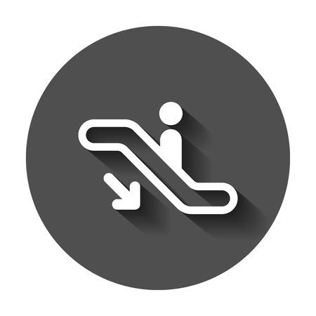 Escalator elevator icon. Vector illustration with long shadow. Business concept escalator pictogram.