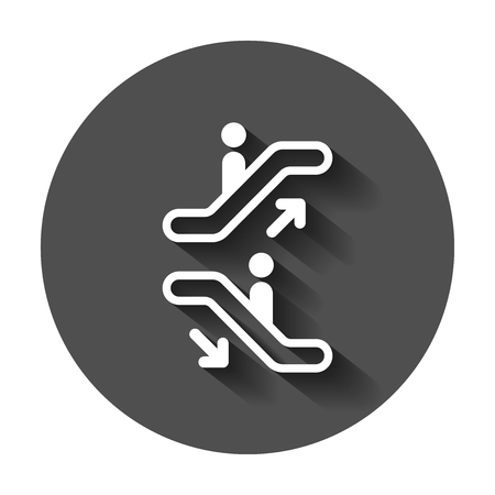 Escalator elevator icon. Vector illustration with long shadow. Business concept escalator pictogram. 스톡 콘텐츠 - 101970712