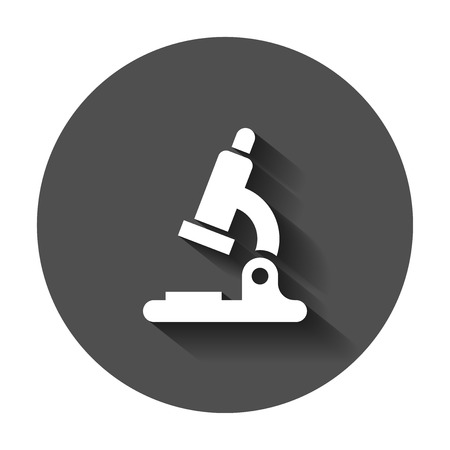 Microscope lab icon. Vector illustration with long shadow. Business concept microscope pictogram.