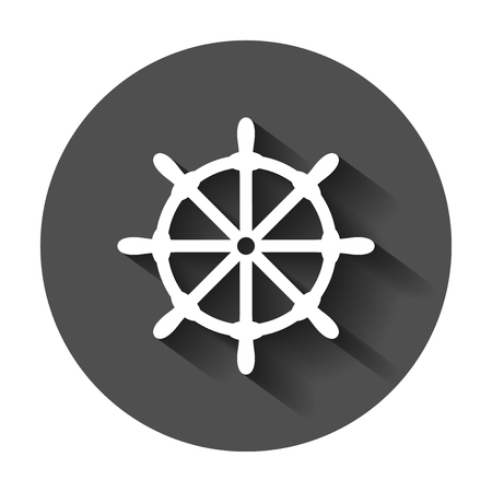 Steering wheel rudder icon. Vector illustration with long shadow. Business concept ship wheel pictogram. Stock Illustratie