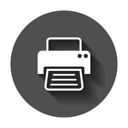 Printer icon. Vector illustration with long shadow. Business concept document printing pictogram. Standard-Bild - 102142321